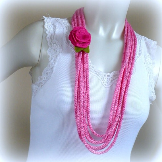 Pink Yarn Necklace with Flower - Lariat Necklace, Pink Infinity Necklace, Romantic Choker, Rope Necklace, Fiber Jewelry, Handmade in the USA