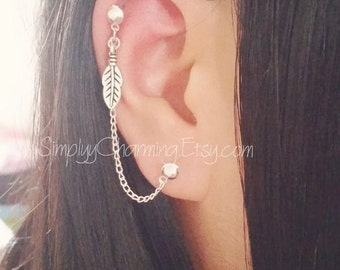 Tiny Leaf Cartilage Chain Earring Double Lobe Helix Ear Cuff Jewelry Dangle Feather Charm Silver