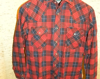 Vintage Red/Blue Flannel Plaid Shirt with Pearl Snaps S 14-14 1/2 Outdoor Exchange