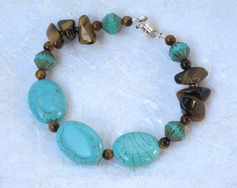 Turquoise Howlite and Tiger Eye Bracelet