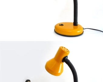 Vintage Desk Lamp - mustard yellow with black gooseneck -1970s