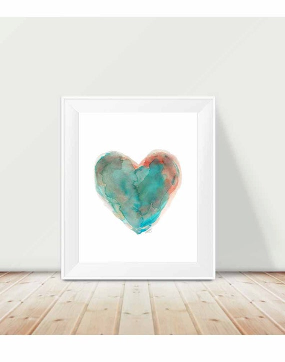 Southwestern Decor, 11x14 Turquoise Heart Watercolor Print