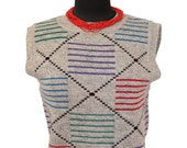 Sweater Vest / Vintage / Gray / Wool / Womens Clothing / 1980s 80s / Small / Sleeveless / Winter / Hipster / Retro