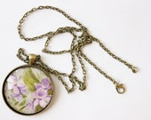 Pendant Necklace / Violets / Long Chain / Statement Jewelry / Vintage Botanical Print / Gifts for Her / Wedding / Wholesale