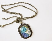 SAMPLE SALE Pendant Necklace / Statement Jewelry / Long Bronze Chain / Bridesmaid Gifts / Wholesale Available / Blue / Vintage Print