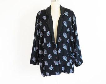 80s vintage blazer oversize loose floral jacket// small medium large