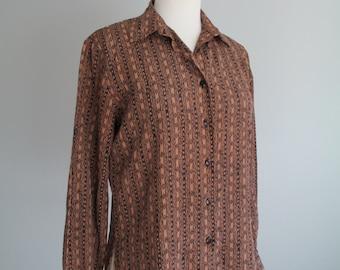 Vtg 80s / 90s Brown SOUTHWESTERN Print SECRETARY Chevron Striped Blouse  SMALL