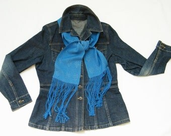 Blue Heart Scarf, Azure Blue Scarf, Hand Woven Scarf Handwoven, Tencel and Bamboo Scarf, Women Scarf Ladies, Sweetheart Scarf, Gift for Her