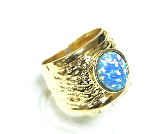 Blue Fire Opal Band Ring 14k Gold Plated Tone Oval Inlay all sizes new art, gold plated ring, opal gold ring, 14k gold ring, blue stone ring