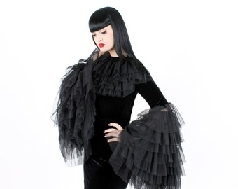 ADELE PIERRI 'Alchemy' Goth Glam Rock style Black Velvet and Tulle Ruffled top with large ruffled bell sleeves.