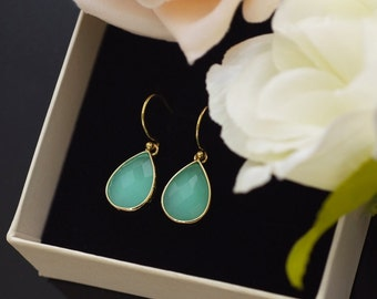 Mint Stone Earrings, Wedding Jewelry, Bridal, Bridesmaid gifts