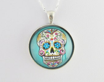 Mexican Skull Pendant on Sterling Silver 925 chain, Day of the dead Pendant, Colorful sugar skull Necklace, Mint Green, Aqua Blue Pendant