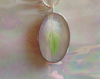 White Iridescent Oval Art Glass Pendant