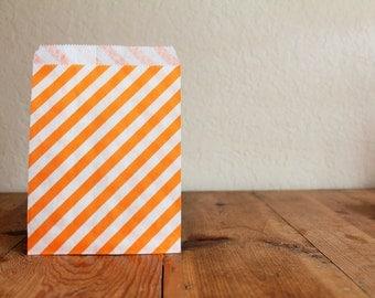 10 Orange Favor Bags