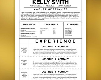 Assistant Resume Template, Cover Letter, References - Microsoft Word, Mac + PC, Adobe InDesign Instant Download SMITH