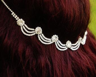 Bridal Rhinestone Headband,  Bridal Halo Headpiece, Bridal Rhinestone Tiara, Forehead/Backside Bride Hair Piece
