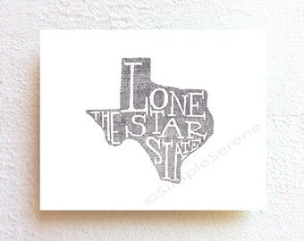 Texas print, Texas map art - the lone star state - ink drawing Illustration typographic print, boho style home decor, unique state map