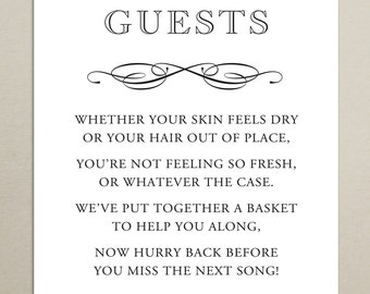 INSTANT DOWNLOAD - Wedding Reception Bathroom Basket Sign - 8x10 - Bathroom Wedding Sign - Digital, Printable