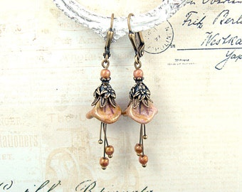 Flower Dangle Earrings - Vintage Style Dusty Pink Czech Flower Earrings Antique Brass Jewelry Antique Victorian Shabby Floral Earrings