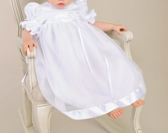 Clarice  Christening Gown, Baptism Gown, LDS Blessing Gown for Baby Girls