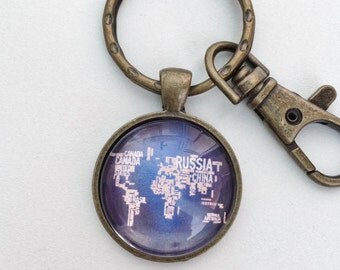 Typographic World Map Atlas Key Chain Bag Charm KC110