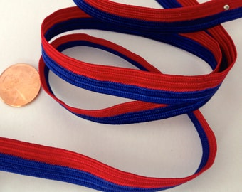 VINTAGE RED & BLUE trim, 5 yards ribbon, strapping, vibrant, nautical, coastal,upholstery,apparel, designer,seamstress,sew,yardage,bolt,roll