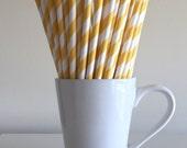 Yellow Striped Paper Straws Party Supplies Party Decor Bar Cart Accessories Cake Pop Sticks Mason Jar Straws Graduation Party