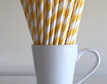 Yellow Striped Paper Straws Party Supplies Party Decor Bar Cart Cake Pop Sticks Mason Jar Straws  Party Graduation