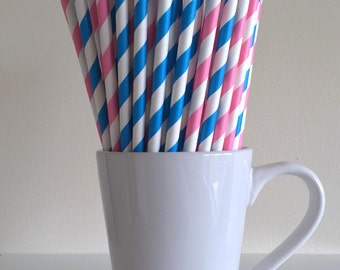 Pink and Blue Striped Paper Straws Gender Reveal Party Supplies Party Decor Bar Cart Accessories Cake Pop Sticks