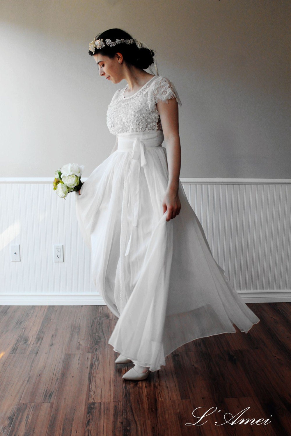 Custom made simple boho white lace wedding dress great for for Bohemian white wedding dress