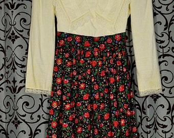 Girls' Lace Trim Cotton Dress Ivory Long Sleeve Top & Floral Print Skirt, Jessica McClintock Gunne Sax, Size 12
