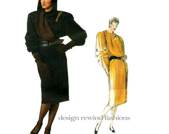 1980s Vogue 1652 CLAUDE MONTANA DRESS Pattern Vogue Individualist Military Style Hooded Wrap Dress Womens Sewing Patterns UNCuT Bust 31.5