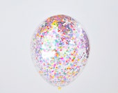 Multicolor Confetti Balloons / Set of 3 Balloons, Birthday Party, Wedding, Baby Shower, Confetti Squares, Tassel Tail, Decorations