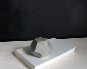 Polyhedron Concrete Geometric Object, Bookend, Paper Weight