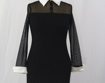 BLACK MAGIC Rockabilly Pinup Black Strapless Collar and Cuffs Party Dress/Large/Petite