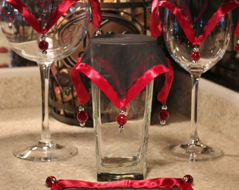 Wine Glass Covers / Black Chiffon Trimmed with Wine Colored Satin / Small Beads (Set of 4)
