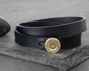 Lotus Bracelet, lotus, Wrap Bracelet, Leather Bracelet, Leather Wrap Bracelet, Yoga Bracelet, lotus charm, lotus flower, b254dblB