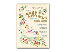 Digital DIY Fancy Vintage Baby Shower Invitation / Neutral Colors / editable PDF for Windows / personalize it yourself, print it yourself