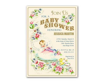 Digital Fancy Vintage Baby Shower Invitation / Neutral Colors / editable PDF / personalize it yourself, print it yourself