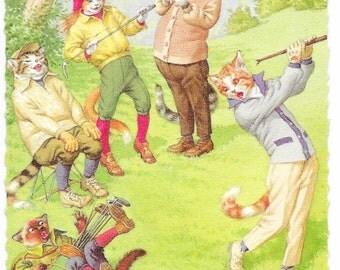 Golfing Mainzer Cats Postcard, c. 1960