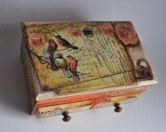 Jewelry box, keepsake box, trinket box, wooden keepsake box, jewellery box, decoupage box