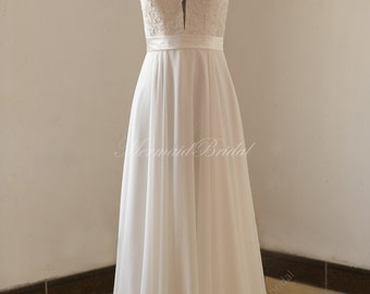 Deep V neckline beach/destination wedding dress with Spaghetti Straps