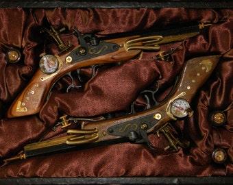 A Brace of Custom Steampunk Dueling Pistols - Match Pair of Beautifully Detailed Double Barreled Non-Firing Prop Handguns