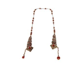 SALE Art Deco Czech Open Tassel Shield Pendant Necklace, Brass Russet Brown Flapper Jewelry, Glass Beads