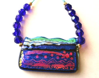 Dichroic Necklace, Dichroic Pendant and Cobalt Blue Glass Bead Necklace