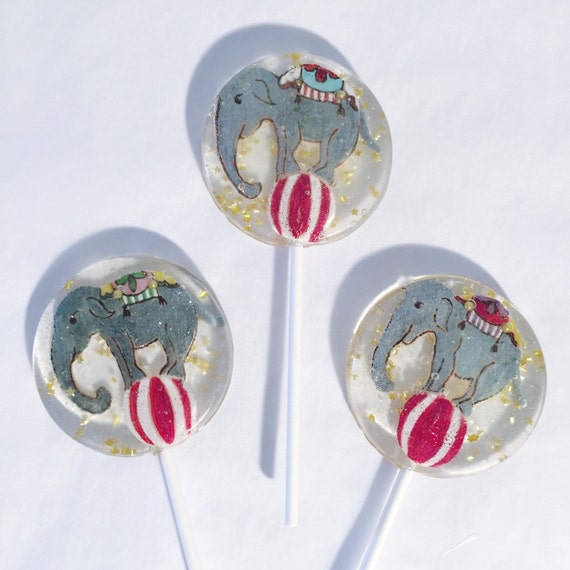 3 Sugar Cookie Flavored Circus Elephant Lollipops