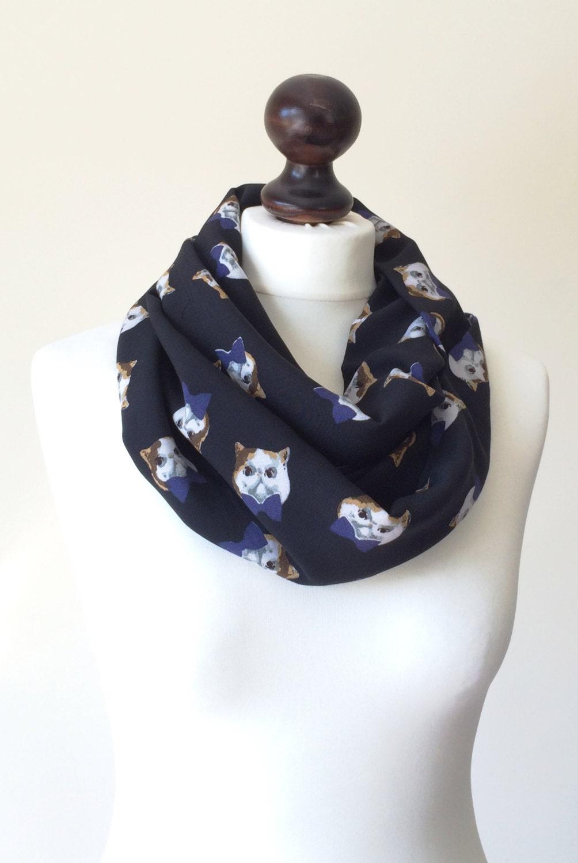 cat scarf tabby cat circle scarf animal loop scarf unisex