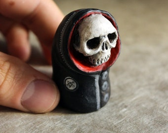 Skull red and black OOAK Doll