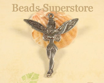 SALE 51 mm x 46 mm Antique Silver Fairy Charm / Pendant - Nickel Free, Lead Free and Cadmium Free - 2 pcs (CH72)
