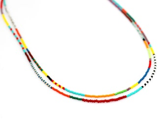 Set of 2 Tribal Seed Bead Necklace / Boho Necklace / Double Strand Beaded Necklace
